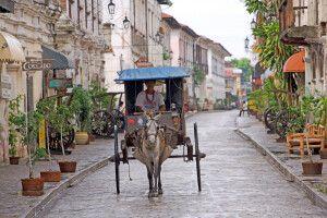 Pferdekutsche in den Straßen von Vigan