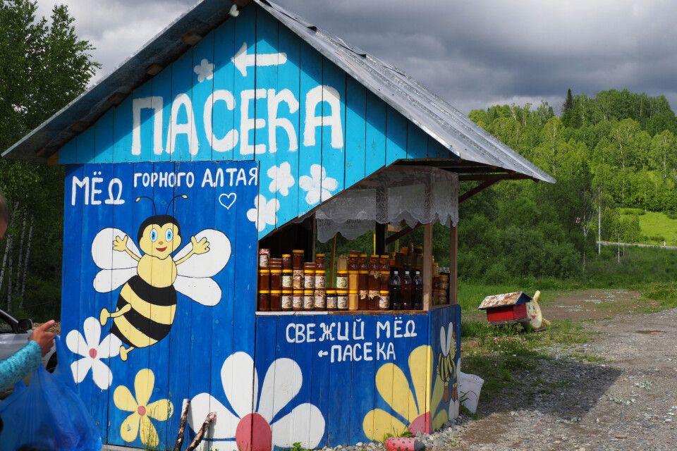 Straßenverkauf von Honig