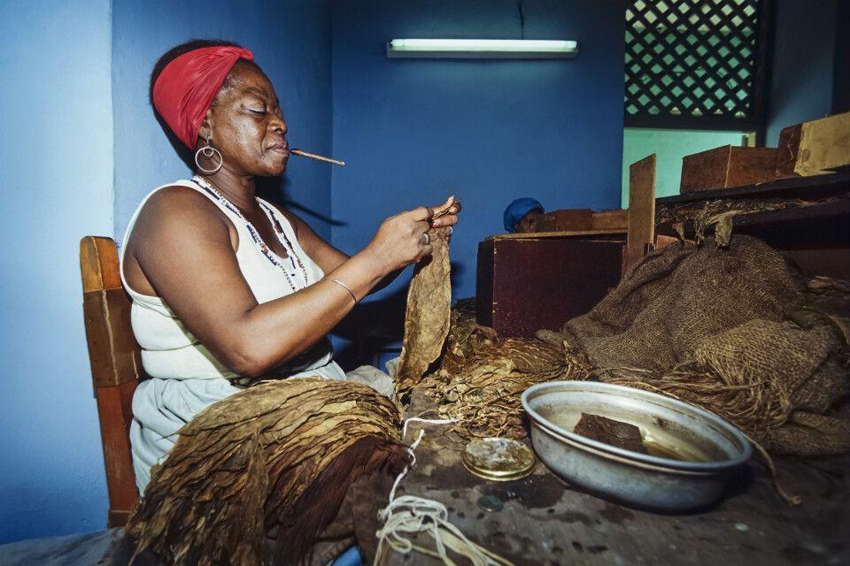 Kubanerin in einer Zigarrenfabrik
