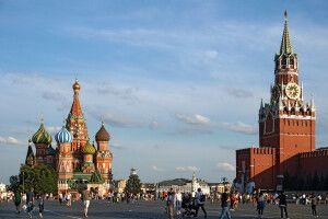 Der Rote Platz mit Basilius-Kathedrale im Moskau