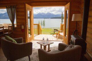 Blick aus einer Cabin des Southern Lakes Resort