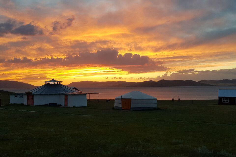 Sonnenuntergang im Ger-Camp am Schwarzen See