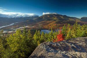 Blick vom Mount Jo auf Heart Lake und Algonquin Peak, Adirondacks, New York State