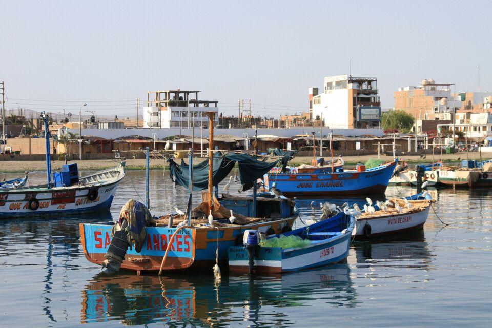 In Paracas legen die Schnellboote zu den Islas Ballestas ab und fahren an Fischerbooten vorbei