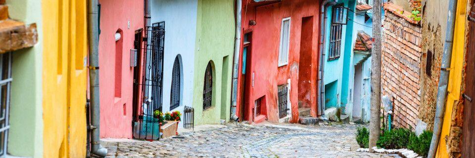 Mittelalterliche Straßenansicht in Sighisoara