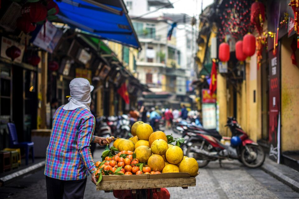 Obstverkäufer in den Gassen