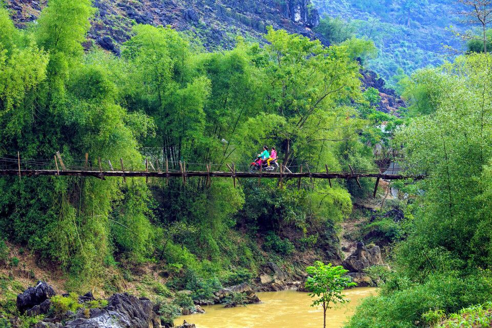 Hängebrücke in Nordvietnam