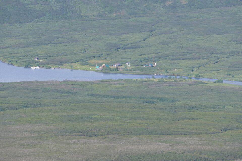 """Istock Ranger Station"" am Ausfluss der ""Kronotskaya"" aus dem ""Kronotsky-See"""