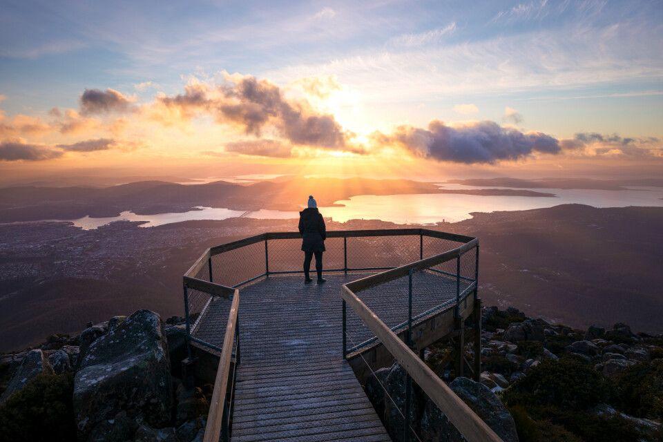 Der Mount Wellington ist der Hausberg von Hobart, der Hauptstadt Tasmaniens.