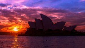 Sydneys Oper mit Sonnenuntergang