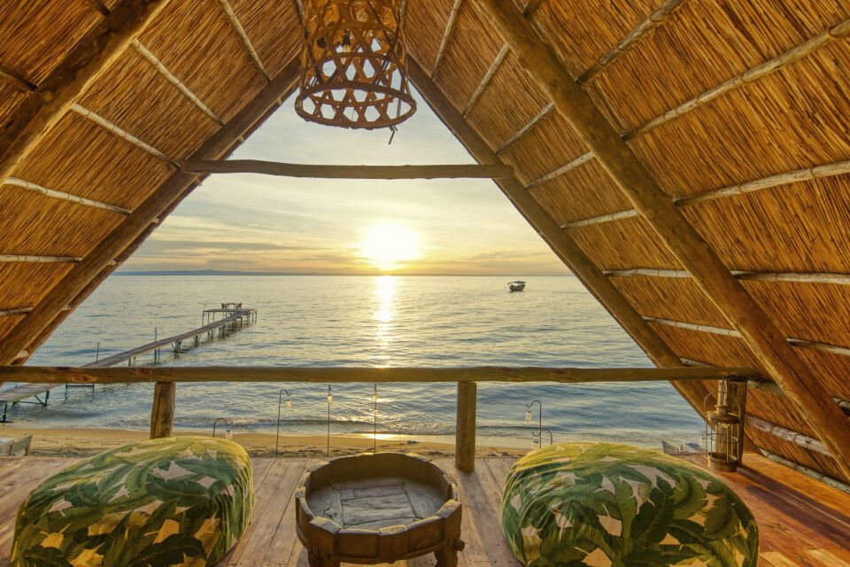 Blick von der Lounge auf den Tanganyikasee