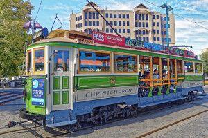 Eine historische Straßenbahn in Christchurch