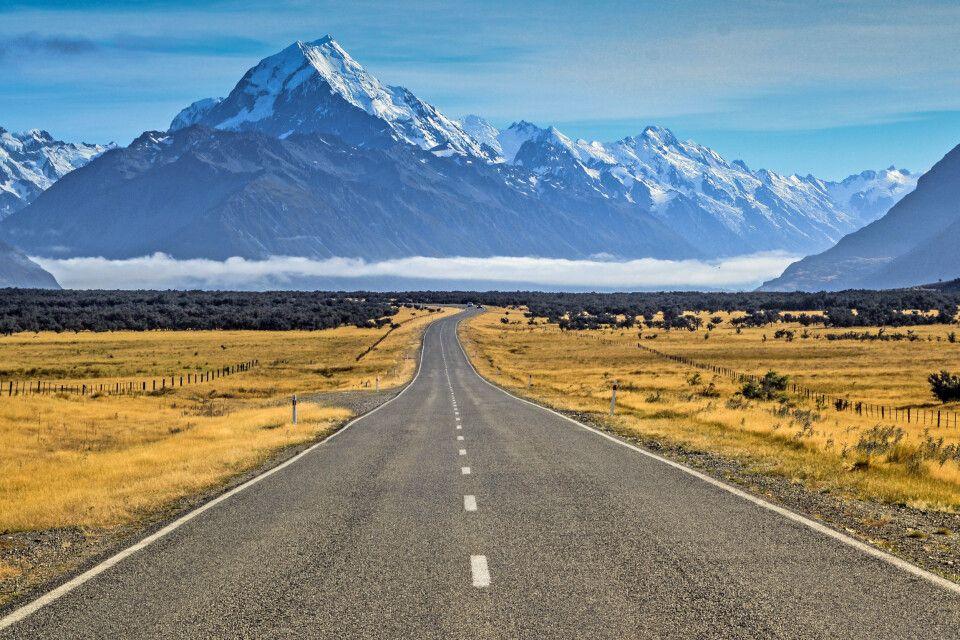 Auf dem Weg zum Mount Cook