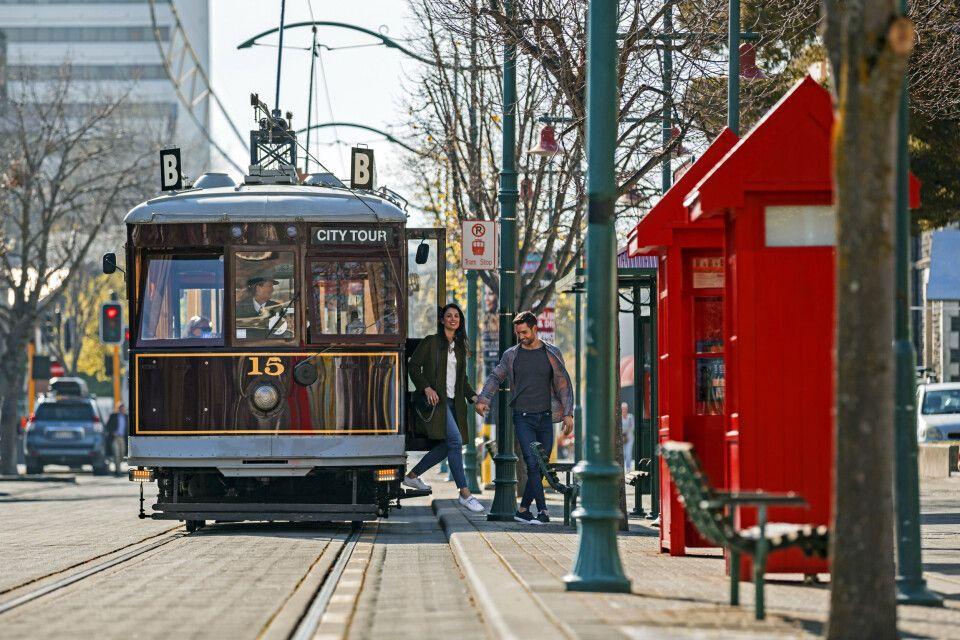 Eine Straßenbahn aus Christchurch