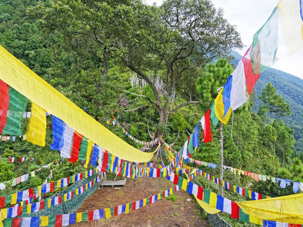 Gebetsfahnen im Tal des Kulong Chhu