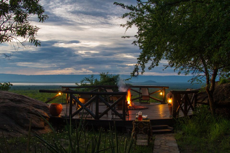 Blick von der Maweninga Camp im Tarangire-Nationalpark über den