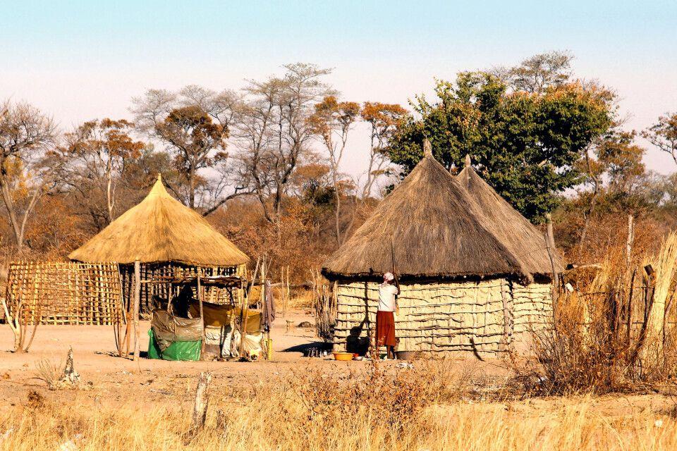 Der Norden Namibias ist bis heute sehr ländlich geprägt, hier ist das Land wohl am ursprünglichsten. Diese Frau bereitet gerade mit Mahangu den traditionellen Getreidebrei vor dem Haus zu.
