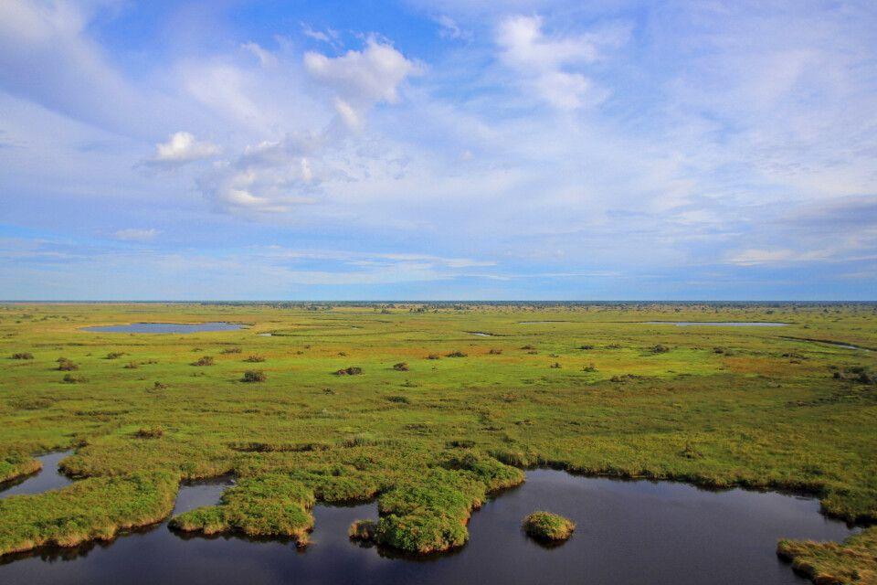 Das nördliche Okavango-Delta aus der Vogelperspektive, Botswana