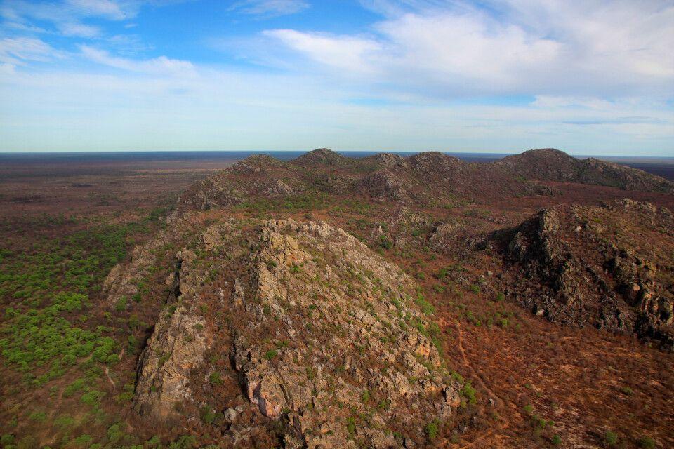 Landeanflug Tsodilo Hills, Botswana