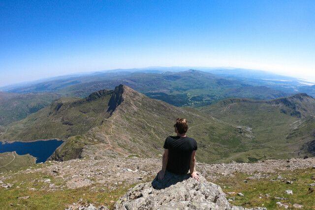Aussicht vom Gipfel des Mount Snowdon, Wales, UK