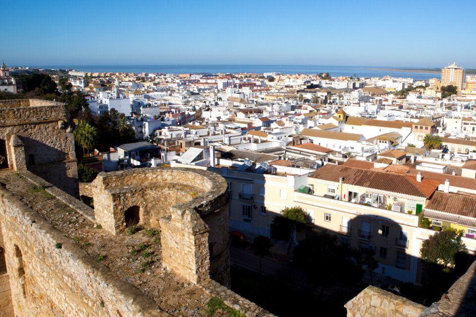 Blick von der Burg über Sabnlucar de Barrameda, Costa de la Luz