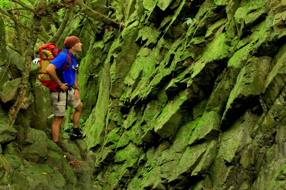 Wanderer in verwunschener Felslandschaft, Insel São Jorge