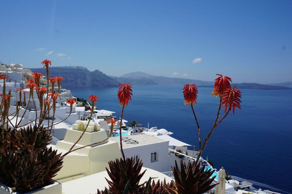 Postkartenkulisse von Santorini
