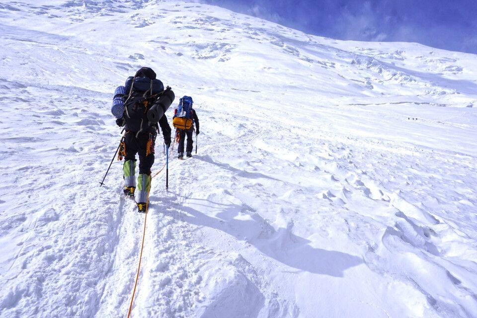 Aufsteig über den Gletscher ins Lager 2 am  Pik Lenin